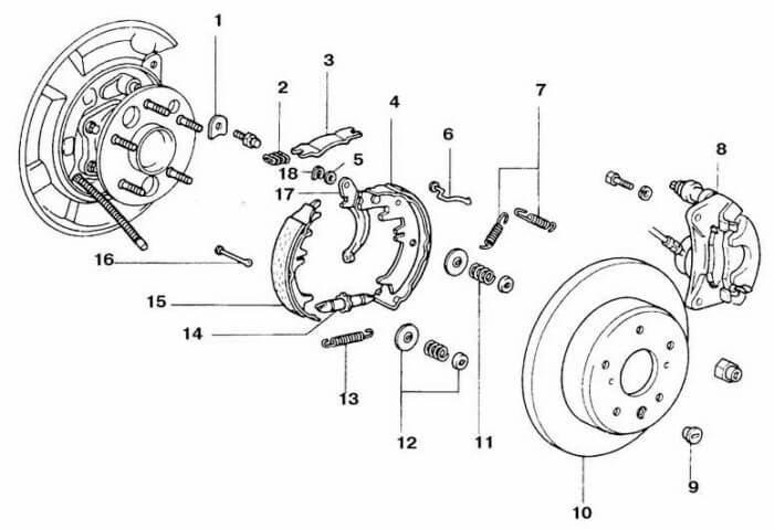 Схема задних тормозных колодок на Камри с дисковыми тормозами