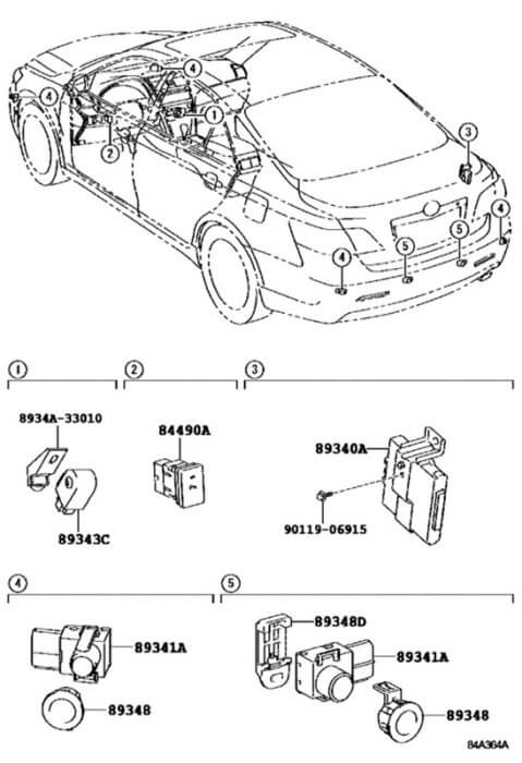 Схема расположения и виды датчиков парктроника на Тойота Камри